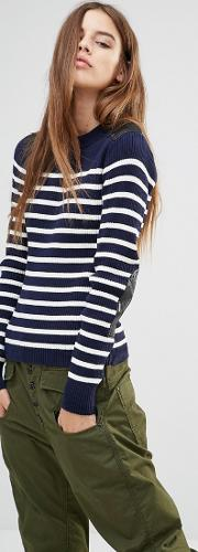 G Star Stripe Knit Jumper With Leather Look Panels
