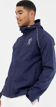hooded windbreaker  navy