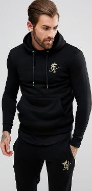 Muscle Hoodie  Black With Gold Logo