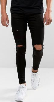 Super Skinny Jeans  Black With Distressing