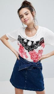 t shirt with floral cami panel detail