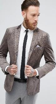 dove grey velvet and gold embossed skinny fit suit jacket