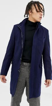 Premium Wool Blend Funnel Neck Overcoat