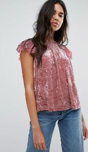 Crushed Velvet Top With Lace Yolk