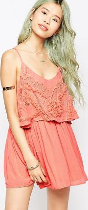 embroidered overlay cami dress