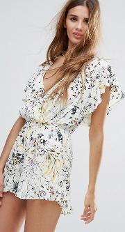 Floral Print Frill Playsuit