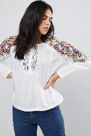 floral sleeved blouse