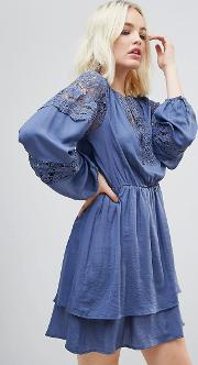 Lace Panelled Long Sleeved Dress
