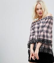 Off Shoulder Checked Blouse With Lace Trim