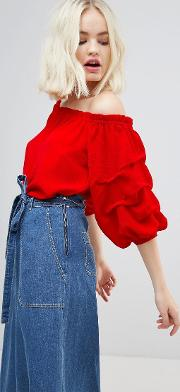 off shoulder rouched sleeve blouse