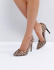 By Dune Allice Leopard Print Pointed Court Shoes