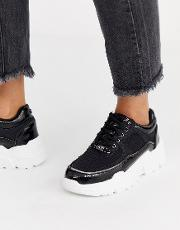 Head Over Heels Evina Chunky Mixed Material Trainers