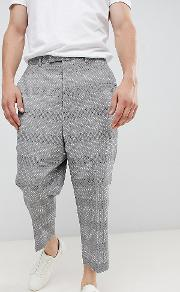 extreme drop crotch tapered trouser in grey jacquard