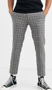 Skinny Fit Suit Trouser Grid Check