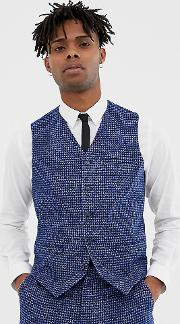 Skinny Fit Suit Waistcoat Dogstooth