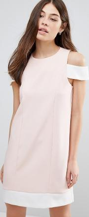 Cut Out Shoulder Shift Dress