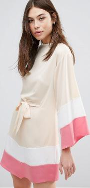 Kimono Sleeve Dress With Belt Detail