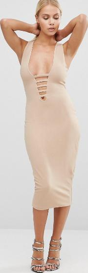 midi pencil dress with lace up front