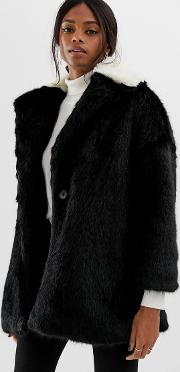 Coat With Contrast Faux Fur Collar