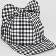 gingham cap with bow