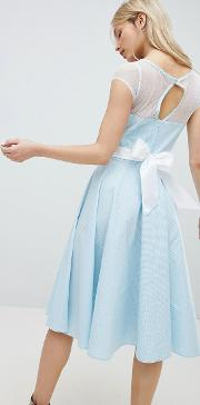 50's prom dress with bow detail