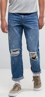 jeans in straight fit with rips