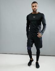 long sleeve t shirt with mesh in black