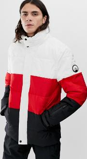 Ski Puffer Jacket With Panels