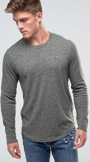 Long Sleeve Top Crew Icon Logo Slim Fit In Green