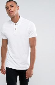 Slim Fit Pique Polo Seagull Embroidery In White