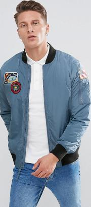 Space Bomber In Silver Blue