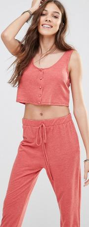 button front crop top co ord