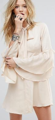 Button Front Tea Dress With Flared Sleeves And Tie Neck Detail