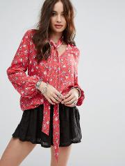 Relaxed Blouse With Tie Neck In Vintage Floral