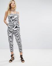 relaxed cami jumpsuit in gingham