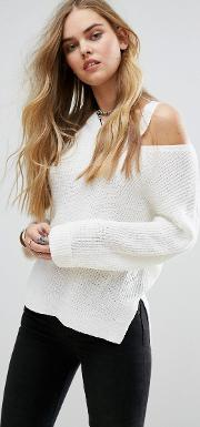 relaxed jumper with cut out collar detail