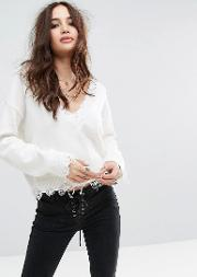 Relaxed V Neck Jumper In Distressed Rib Knit