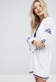 Smock Dress With Tassel Tie Neck And Embroidery