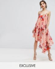 hope & ivy asymmetric cami dress in oversize floral print