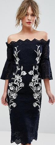 Hope & Ivy Bardot Lace Pencil Dress With Embroidery