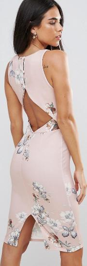 hope & ivy floral pencil midi dress with cut out back