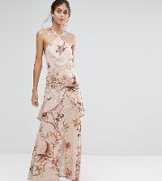 Hope & Ivy Printed Satin Maxi Dress With Cutaway Neck Detail