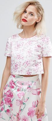 Blossom Print Crop Top Co Ord