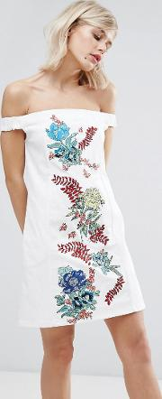 embroidered cotton drill dress