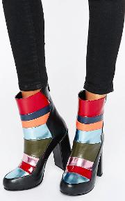 patchwork heeled ankle boots