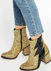 thunder gold glitter heeled ankle boots