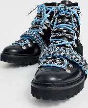 X Grenson Blue Paracord Lace Leather Hiking Boot