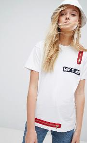 x lee t shirt with zip detail