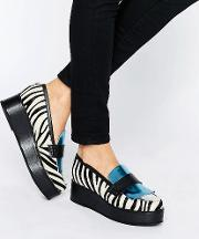 zebra print flatform shoes