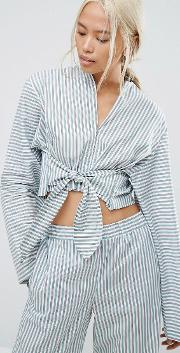 pyjama style shirt with tie front in stripe co ord
